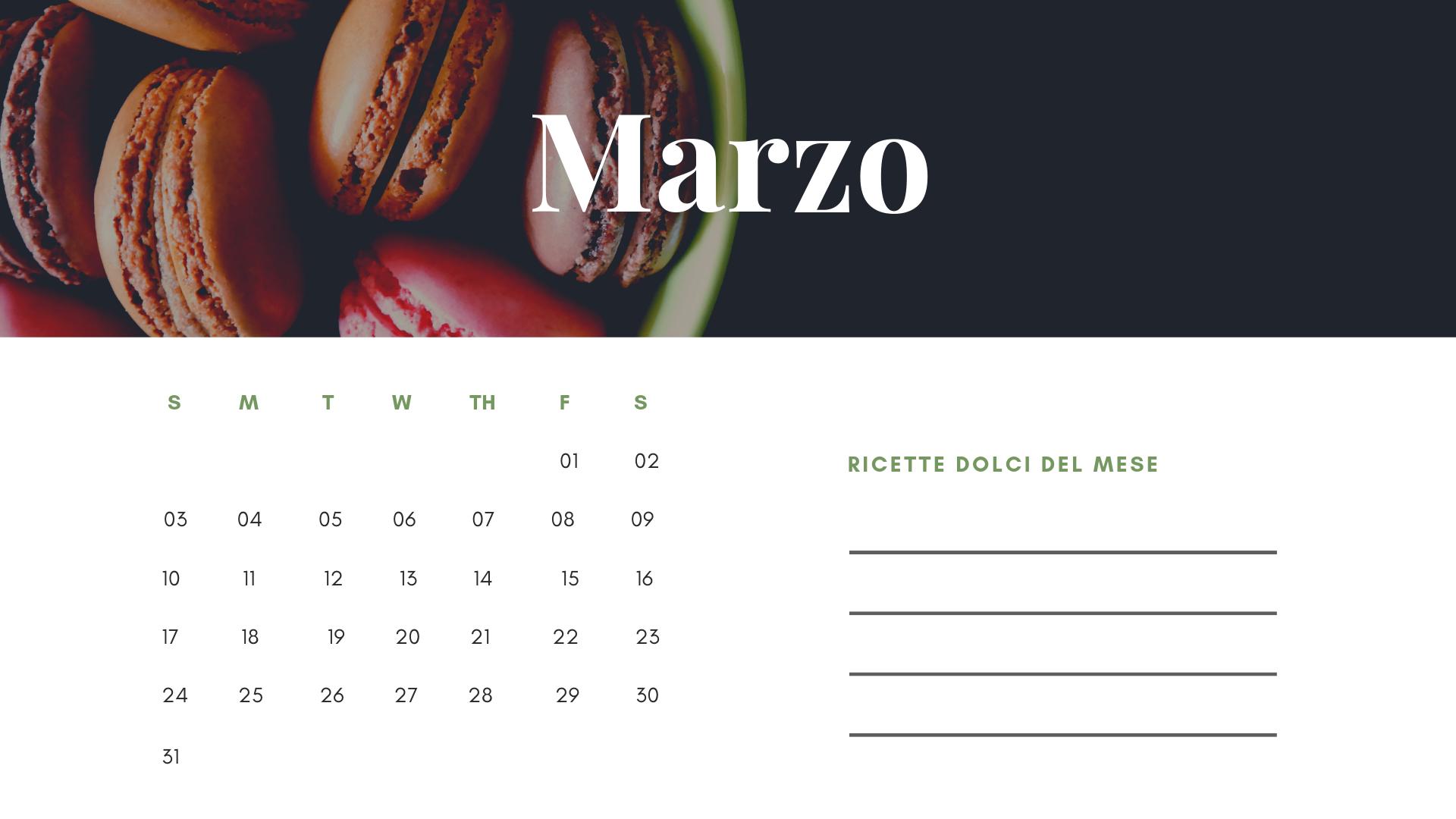 Freebie marzo - Calendario goloso del mese - Zael Bakery